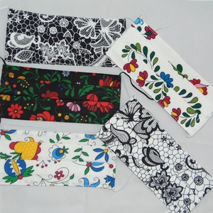 Textil maszk csomag, Női, Maszk, Arcmaszk, Varrás, Zsugorka, Pamutból készült felnőtt kétrétegű textil szájmaszk. Kívül mintás belül sima fehér pamutvászon.\nMasz..., Meska