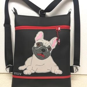 Francia bulldog 3in1  női hátitáska divattáska oldaltáska , Táska & Tok, Variálható táska, Varrás, Fekete textilbőrből készítettem ezt az úgymond 3in1 táskát.\nElején egy kis francia bulldog mosolyog ..., Meska