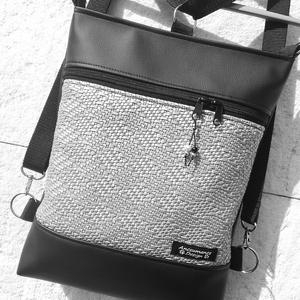 3in1 3D ezüst-fekete női hátizsák oldaltáska , Táska & Tok, Variálható táska, Fekete és ezüst 3D textilbőrből  készítettem ezt az úgymond 3in1 táskát. Lehet válltáska,hátitáska,d..., Meska