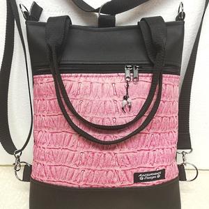 4in1 rose 3D textilbőr hátizsák univerzális táska, Táska & Tok, Variálható táska, Varrás, Fekete textilbőrből és 3D rose textilbőrből készítettem ezt az elegáns táskát,mely kézi füleket is k..., Meska
