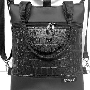 4in1 hátizsák univerzális rohangálós táska, Táska & Tok, Variálható táska, Az örök divatú fekete táska. Fekete textilbőrből készült táska, 3 dimenziós fekete mintás textilbőr ..., Meska