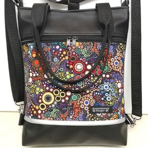 4in1 női hátizsák divattáska oldaltáska buborékok, Táska & Tok, Variálható táska, Varrás, Fekete textilbőrből ,valamint amerikai pamutból készítettem ezt az úgymond 4in1 táskát.\nViselhető al..., Meska