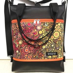 Buborékok színátmenet 4in1 elegáns textilbőr hátizsák piros-sárga, Táska, Divat & Szépség, Táska, Válltáska, oldaltáska, Hátizsák, Varrás, Fekete textilbőrből ,valamint  amerikai pamutból készítettem ezt az úgymond 4in1 táskát.\nViselhető a..., Meska