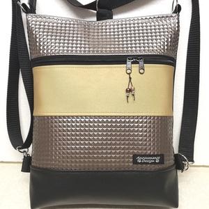 3in1 hátizsák univerzális rohangálós táska bronz óarany, Táska, Divat & Szépség, Táska, Hátizsák, Egyéb, Varrás, Fekete, 3D piramismintás bronz és óarany textilbőrből készült,3in1 többféleképpen használható táska...., Meska