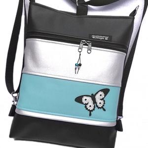 Pillangó 3in1 női hátizsák divattáska oldaltáska türkíz-ezüst, Táska & Tok, Variálható táska, Varrás, Fekete,türkiz és ezüst textilbőrből  készítettem ezt az úgymond 3in1 táskát.\nLehet válltáska,hátitás..., Meska