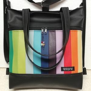 4in1 nagy csini szivárvány univerzális táska hátizsák, Táska, Divat & Szépség, Táska, Válltáska, oldaltáska, Hátizsák, Varrás, Fekete és színes textilbőrökből készült ez a nagyméretű 4in1 elegáns táska.\nA csíkokat kézzel szabta..., Meska