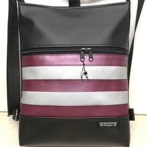 Új! 3in1 női hátizsák oldaltáska metállila-ezüst csíkok betéttel, Táska & Tok, Variálható táska, Fekete,metállila és ezüst textilbőrből készítettem ezt az úgymond 3in1 táskát. Lehet válltáska,hátit..., Meska
