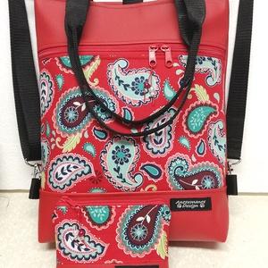Piros Designer 4in1 Textilbőr Hátizsák Ajándék Neszivel, Táska & Tok, Variálható táska, Piros textilbőrből és amerikai pamutból készítettem ezt az elegáns táskát,mely kézi füleket is kapot..., Meska