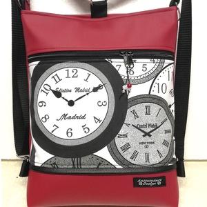 Világórák bordó alapon 3in1 hátizsák univerzális táska, Táska, Divat & Szépség, Táska, Válltáska, oldaltáska, Hátizsák, Egyéb, Varrás, Bordó textilbőrből készítettem ezt az úgymond 3in1 táskát, pamutvászon díszítéssel.\n\nLehet válltáska..., Meska