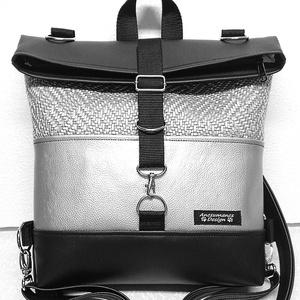Roll top univerzális táska hátizsák fekete-ezüst óriás, Táska, Divat & Szépség, Táska, Laptoptáska, Hátizsák, Varrás, Kiváló minőségű vastag fekete és kétféle ezüst textilbőrből\n készült nagyméretű roll-top hátizsák,un..., Meska