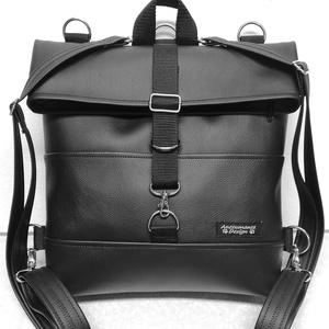 Roll top univerzális táska hátizsák fekete óriás, Táska, Divat & Szépség, Táska, Laptoptáska, Hátizsák, Varrás, Kiváló minőségű vastag fekete textilbőrből\n készült nagyméretű roll-top hátizsák,univerzális táska.\n..., Meska
