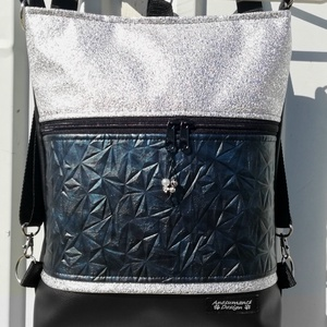 3in1 női hátizsák divattáska oldaltáska gyémánt kék-kristályos ezüsttel, Táska & Tok, Variálható táska, Fekete,gyémántmintás kékesfekete és aprókristályos ezüst textilbőrből készítettem ezt az úgymond 3in..., Meska