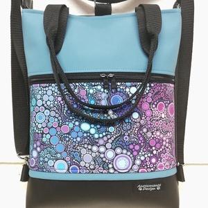 Buborékok színátmenet 4in1 egyedi textilbőr hátizsák kék felsővel, Táska & Tok, Variálható táska, Varrás, Fekete és kék textilbőrből,valamint amerikai pamutból készítettem ezt az elegáns táskát,mely kézi fü..., Meska