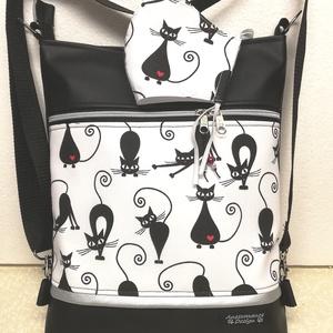 Fekete cicák 3in1 női hátizsák oldaltáska + ajándék szájmaszk, Táska, Divat & Szépség, Táska, Válltáska, oldaltáska, Hátizsák, Varrás, Fekete textilbőrből és fekete cicás pamutvászonból készítettem ezt az úgymond 3in1 táskát,\nmelyhez m..., Meska