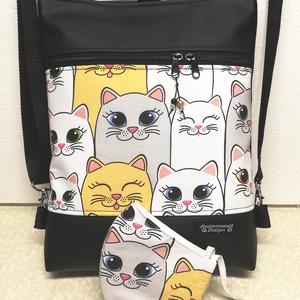 Mosolygó cicák 3in1 női hátizsák oldaltáska + ajándék szájmaszk, Táska & Tok, Variálható táska, Varrás, Fekete textilbőrből és  cicás pamutvászonból készítettem ezt az úgymond 3in1 táskát,\nmelyhez most aj..., Meska
