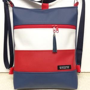 3in1 Tengerész hátizsák oldaltáska, Táska, Divat & Szépség, Táska, Egyéb, Hátizsák, Varrás, Piros,tengerészkék és fehér textilbőrből készült,3in1 univerzális táska.\nHordható vállon,vállon átve..., Meska