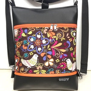 Modern népmesés 3in1 hátizsák pakolós rohangálós táska narancs díszítéssel, Táska, Divat & Szépség, Táska, Válltáska, oldaltáska, Hátizsák, Magyar motívumokkal, Varrás, Fekete textilbőrből ,valamint amerikai pamutból készítettem ezt az úgymond 3in1 táskát,\nkis narancss..., Meska