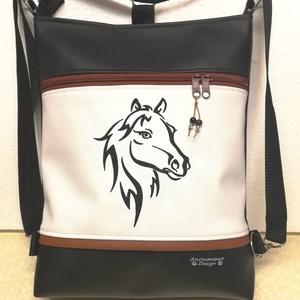3in1 hímzett lovas női hátizsák divattáska oldaltáska , Táska & Tok, Variálható táska, Varrás, Hímzés, Fekete és fehér textilbőrből  készítettem ezt az univerzális táskát.\nA ló minta gépi hímzéssel készü..., Meska