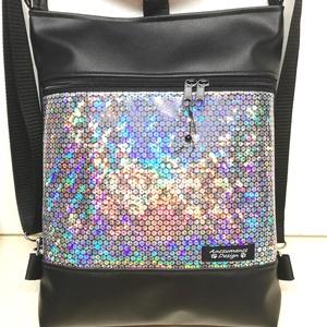 3in1 új flitter hologramos hátizsák univerzális táska , Táska & Tok, Variálható táska, Fekete textilbőrből és szivárványos flitter hologramos textilbőrből készítettem ezt az univerzális  ..., Meska