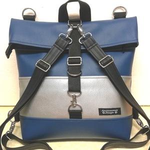 Roll top univerzális táska hátizsák kék-ezüst óriás, Táska & Tok, Hátizsák, Roll top hátizsák, Kiváló minőségű vastag fekete,kék és ezüst textilbőrből  készült nagyméretű roll-top hátizsák,univer..., Meska