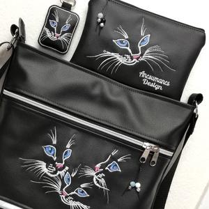Hímzett 30x30-as pakolós táska szett kékszemű cicák-táska,pénztárca,kulcstartó (ancsumancs) - Meska.hu