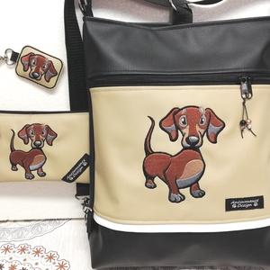 Hímzett tacskó kutyus 3in1 szett-táska-pénztárca-kulcstartó, Táska & Tok, Variálható táska, Varrás, Hímzés, Fekete és drapp textilbőrből készítettem ezt a különleges szettet.\nMintájuk gépi hímzéssel készült,c..., Meska