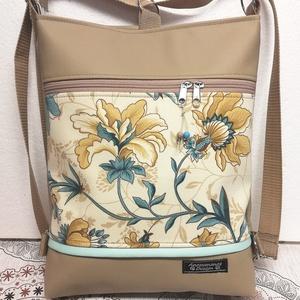Álomvirágok 3in1 drapp-beige textilbőr hátizsák oldaltáska, Táska & Tok, Variálható táska, Varrás, Drapp textilbőrből és pamutvászonból készítettem ezt az elegáns 3in1 táskát.\nA vászon rész alá is ke..., Meska