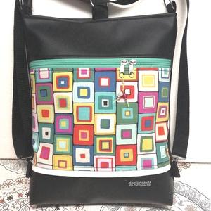 Színes négyszögek 3in1 textilbőr hátizsák oldaltáska, Táska & Tok, Variálható táska, Fekete textilbőrből, valamint amerikai pamutból készítettem ezt az elegáns 3in1 táskát. A vászon rés..., Meska