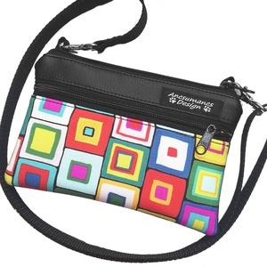 Kistáska vagy pénztárca? színes négyzetek feketén, Táska & Tok, Variálható táska, Textilbőrből  és  Michael Miller által tervezett gyönyörű amerikai pamutból készült ez a kétrekeszes..., Meska