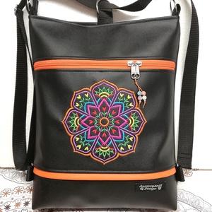 Hímzett tulipán mandalás 3in1 hátizsák univerzális táska, Táska & Tok, Variálható táska, Fekete textilbőrből készítettem ezt az úgymond 3in1 táskát. Elejét színes cérnával hímzett tulipános..., Meska