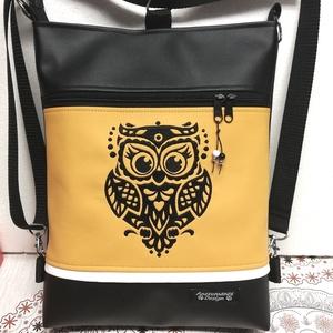 Art Bagoly 3in1 hímzett hátizsák oldaltáska fekete-napsárga, Táska & Tok, Variálható táska, Varrás, Hímzés, Női 3in1 táska.\nBiciklizéshez,sétákhoz,túrához jól jöhet egy ilyen tatyó,melyet hátizsákként a hátad..., Meska