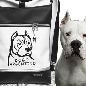 Argentin Dog kutyusos 3in1 hátizsák univerzális táska, Táska & Tok, Variálható táska, Varrás, Hímzés, Fekete és fehér textilbőrből készítettem ezt az úgymond 3in1 táskát.\nDíszítése gépi hímzéssel készül..., Meska