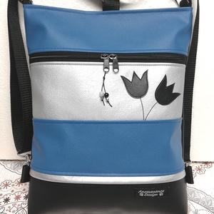 Applikált tulipános 3in1 hátizsák oldaltáska fekete-kék-ezüst, Táska & Tok, Variálható táska, Varrás, Női 3in1 táska.\nBiciklizéshez,sétákhoz,túrához jól jöhet egy ilyen tatyó,melyet hátizsákként a hátad..., Meska