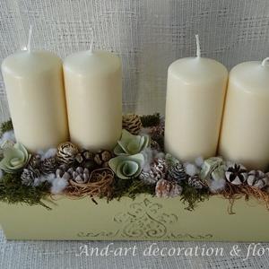 """Advent \""""And-art\"""" mód I. asztaldísz, Otthon & Lakás, Karácsony & Mikulás, Adventi koszorú, Famegmunkálás, Virágkötés, Saját készítésű fa ládát díszítettem egy fenyőfához hasonló mintával, majd festettem vintage zöld sz..., Meska"""