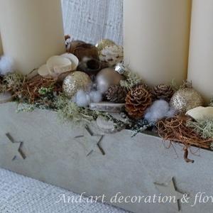 Advent elegánsan, ünnepi dekoráció., Otthon & Lakás, Karácsony & Mikulás, Adventi koszorú, Famegmunkálás, Virágkötés, A láda saját készítésű és saját díszítésű, modern hatású, elegáns, kellemes meleg árnyalatú. Minőség..., Meska