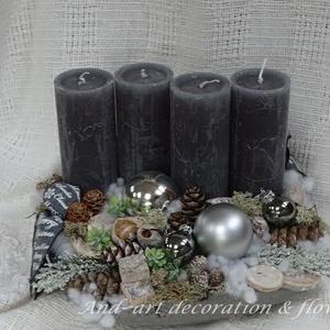 Advent And-art mód.Adventi koszorú másképp., Otthon & Lakás, Karácsony & Mikulás, Adventi koszorú, Festett tárgyak, Virágkötés, Egy érdekes kerámia tálat festettem szép antik ezüst színre, minőségi szürke gyertyával és csillogó ..., Meska