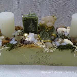 Karácsonyi mese II-Adventi koszorú másképp, Otthon & Lakás, Karácsony & Mikulás, Adventi koszorú, Famegmunkálás, Virágkötés, Egyedi készítésű ládát díszítettem 3-d vintage mintával, kedves adventi-karácsonyi dekoráció készült..., Meska
