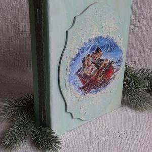 Karácsonyi mese- könyvdoboz, Otthon & Lakás, Karácsony & Mikulás, Karácsonyi dekoráció, Decoupage, transzfer és szalvétatechnika, Festett tárgyak, Régi álmom,hogy kedves karácsonyi könyvet készítsek, most végre sor került rá.Kedves macis figurák,é..., Meska