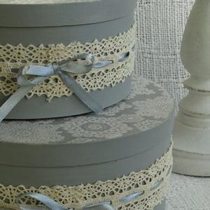 Pasztell szürke romantikus tároló, kalapdoboz, esküvői ajándékátadó. (Andartdecoration) - Meska.hu
