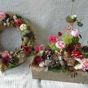 Pink rose  tavaszi kollekció., Dekoráció, Otthon, lakberendezés, Ajtódísz, kopogtató, Famegmunkálás, Virágkötés, Életteli pink és rózsaszín tavaszi virágokból készült ez a kollekció.Saját készítésű modern stílusú..., Meska
