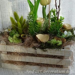 Vidéki romantika, tavaszi asztaldísz.Húsvéti asztaldísz. (Andartdecoration) - Meska.hu