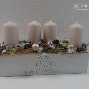 Adventi elegancia-egyedi adventi koszorú., Otthon & Lakás, Karácsony & Mikulás, Adventi koszorú, Famegmunkálás, Virágkötés, Vintage stílusú, gyönyörű,elegáns adventi dekoráció, asztaldísz.\nMely lágy pasztelljével, vintage ta..., Meska