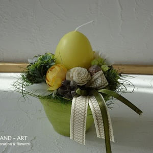 Húsvéti dekoráció-tojással., Otthon & lakás, Dekoráció, Ünnepi dekoráció, Húsvéti díszek, Lakberendezés, Asztaldísz, Festett tárgyak, Virágkötés, Pasztell árnyalatú tojás gyertyákkal készült ez a kézzel festett kis kaspó.A gyertya színével harmon..., Meska