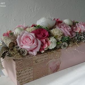 Rózsaszín-vintage asztali dekoráció. - Meska.hu