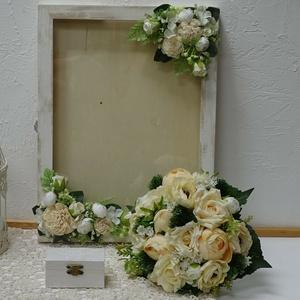 Esküvői szett, And - art mód., Esküvői szett, Esküvő, Festett tárgyak, Virágkötés, Vintage stílusú esküvői szettünk áll egy örök csokorból melynek mérete: 24 cm\negy kártyagyűjtő-pénzg..., Meska