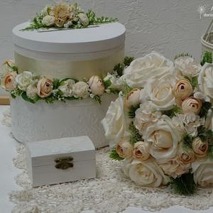 Esküvői szett. Pasztell árnyalatban., Esküvői szett, Esküvő, Festett tárgyak, Virágkötés, Esküvői szett tartalmaz: 1 menyasszonyi örök csokrot, mérete: 24 cm\n                                ..., Meska
