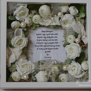 Egyedi szülőköszöntő szettben., Esküvő, Emlék & Ajándék, Szülőköszöntő ajándék, Festett tárgyak, Virágkötés, Végre készítettem egy olyan szülőköszöntő szettet ami zárt, így még tovább megőrzi szépségét.\nEgyedi..., Meska