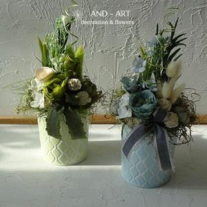 Pasztell tavaszi otthon dísz., Otthon & Lakás, Dekoráció, Asztaldísz, Virágkötés, Pasztell színárnyalatú bádog kaspókat díszítettem színben hozzáillő virágokkal termésekkel. Friss ta..., Meska