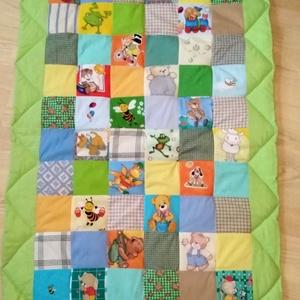 Gyerek takaró, Gyerek & játék, Gyerekszoba, Falvédő, takaró, Varrás, Tarkabarka  kockás,  patchwork takarót készítettem  pamutvászon anyagokból. A 60 darab, sokféle mint..., Meska