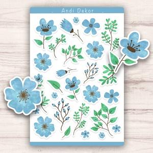 Kék virágos matricák, Otthon & lakás, Dekoráció, Képzőművészet, Illusztráció, Grafika, Papírművészet, Fotó, grafika, rajz, illusztráció, Egyedi készítésű kék virágos matricák AndiDekor mini műhelyéből, kiváló alapanyagokból és csupa szív..., Meska